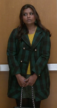 Mindy's green check coat and yellow sweater on The Mindy Project