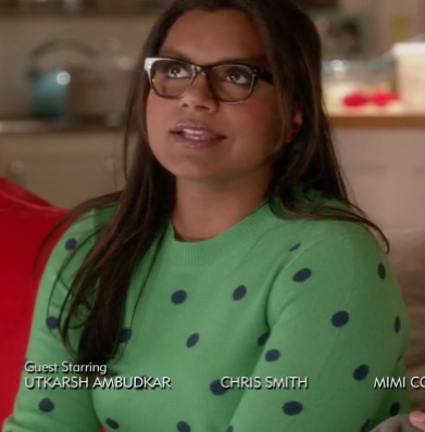 Mindy Kaling's green and navy blue polka dot sweater on The Mindy Project