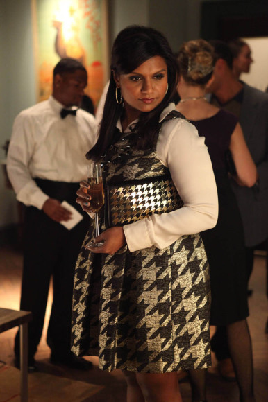 Mindy's silver and black houndstooth dress on The Mindy Project