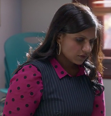 Mindy's pink polka dot top on The Mindy Project