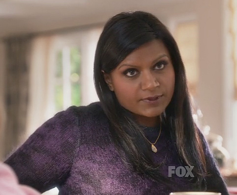 Mindy's purple and black sweater on The Mindy Project