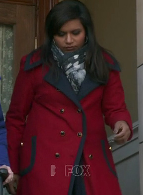 Mindy's red coat with navy trim on The Mindy Project