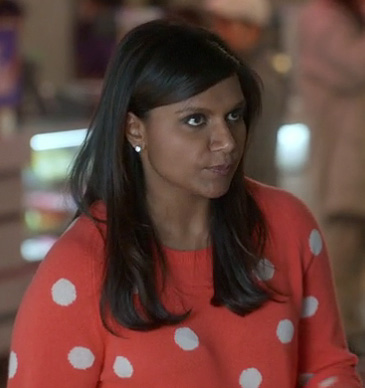 Mindy's red/coral polka dot sweater on The Mindy Project
