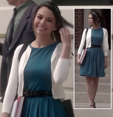 Mona's teal blue pleated dress on Pretty Little Liars