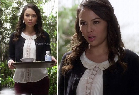 Mona's white lace and pleated blouse with collar on PLL
