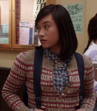Mouse's brown striped fair isle cardigan and blue plaid ruffle shirt on The Carrie Diaries