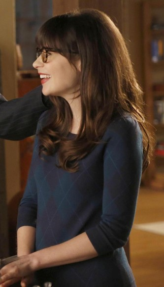 Jess Day's navy blue check sweater on New Girl