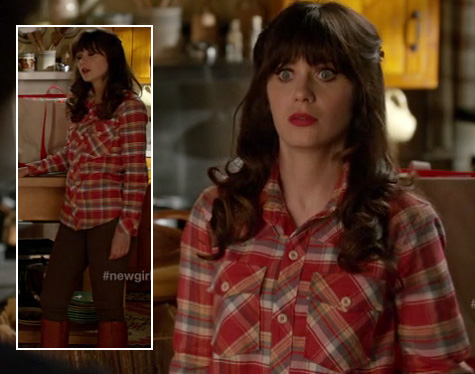Jess's orange check shirt on New Girl