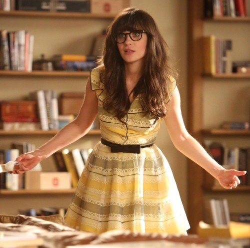 Jess Day's yellow dress when she gets fired on New Girl