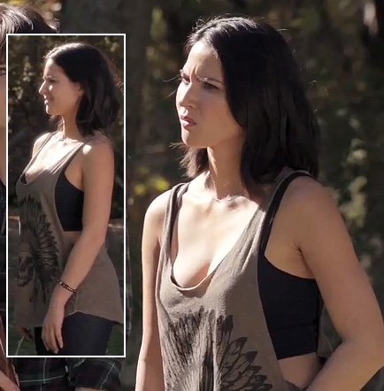 Angie's (Olivia Munn) skull/feather tank top on New Girl
