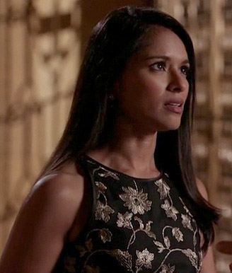 Padma's black dress with gold embroidered flowers on Revenge