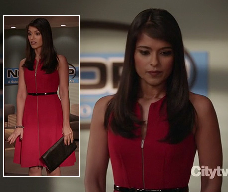 Padma's red zip front dress on Revenge