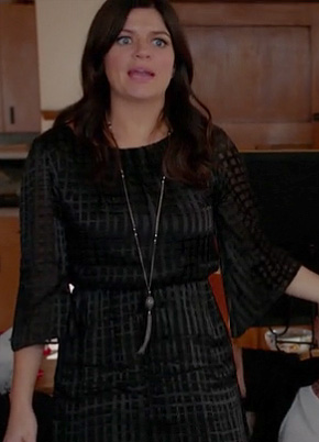 Penny's black bell sleeve grid dress on Happy Endings