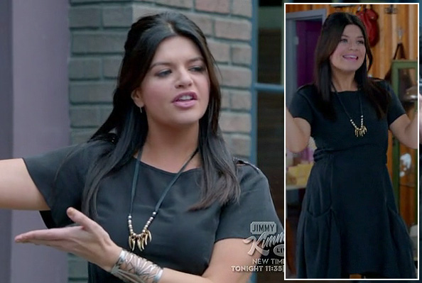 Penny's black oversized pocket dress with gold necklace and silver cuff on Happy Endings