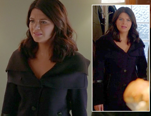 Penny's navy blue and leather layered coat on Happy Endings