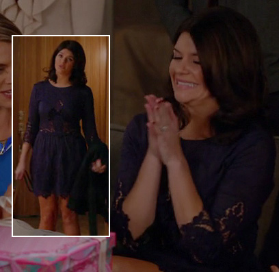Penny's navy lace engagement party dress on Happy Endings