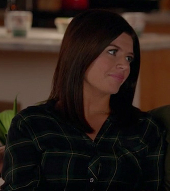 Penny's navy plaid shirt on Happy Endings