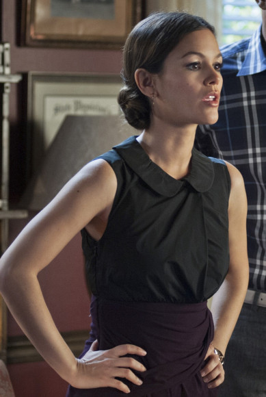 Rachel Bilsons purple and black wrap peter pan dress on Hart of Dixie