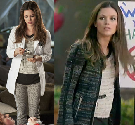 Zoe's dark tweed jacket and leopard jeans on Hart of Dixie