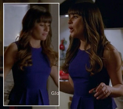Rachel Berry's blue peplum top and black leather skirt on Glee