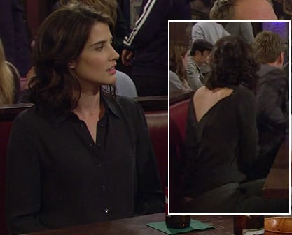 Robin's black shirt with back cutout on How I Met Your Mother