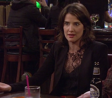 Robin's black lace top on How I Met Your Mother