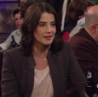 Robin's grey blazer with leather collar on How I Met Your Mother
