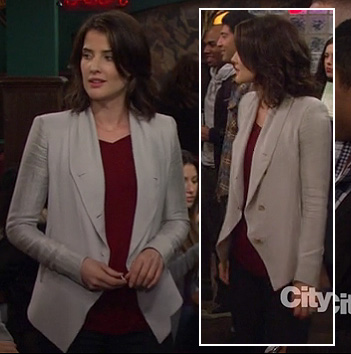 Robin's grey draped blazer on How I Met Your Mother