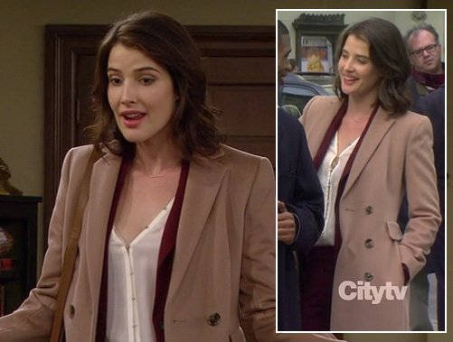 Robin's white blouse, burgundy pant suit and long beige coat on How I Met Your Mother