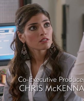 Shauna's glittery chevron / arrow earrings and grey shirt on The Mindy Project