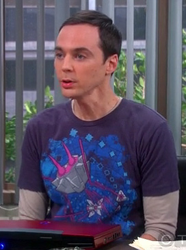 Sheldon's navy, pink and blue shirt on The Big Bang Theory