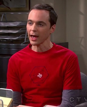 Sheldon's red d20 dice shirt on The Big Bang Theory