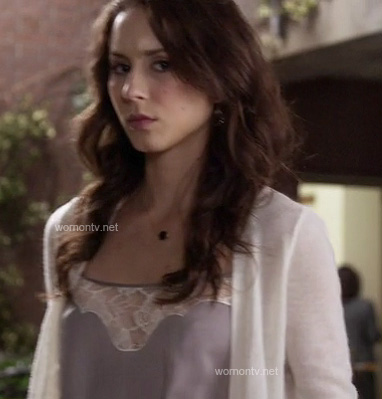 Spencer's grey lace cami on Pretty Little Liars