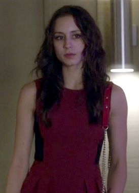 Spencer's red and black side panel dress on Pretty Little Liars
