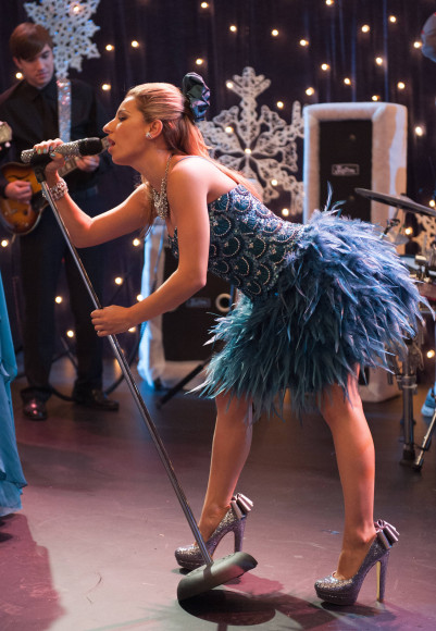 Sugar's blue feather dress on Glee