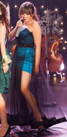 Tina's blue and black sheer dress on Glee