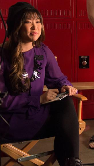 Tina's purple longsleeved dress on Glee