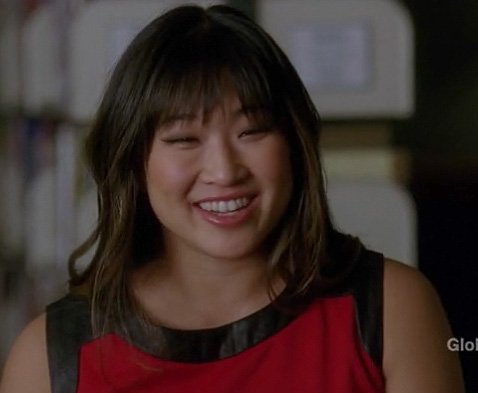 Tina's red leather trim dress on Glee