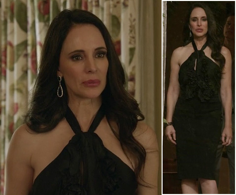 Victoria's black ruffled halter dress on Revenge