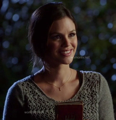 Zoe's grey crochet sweater on Hart of Dixie