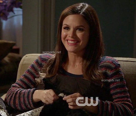 Zoe's grey/blue/red striped sweater on Hart of Dixie