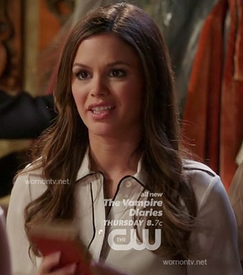 Zoe's white shirt with black piped trim on Hart of Dixie
