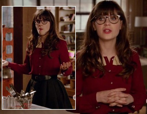Jess Day's red top with collar and black skirt on New Girl