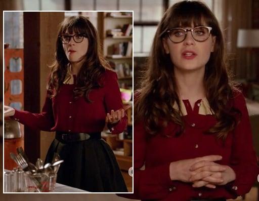 Jess's burgundy shirt with cream collar on New Girl