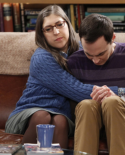 Amy Farrah Fowlers blue knit cardigan on The Big Bang Theory