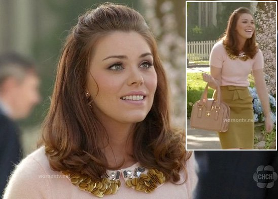Annabeth's gold collared short sleeve sweater on Hart of Dixie