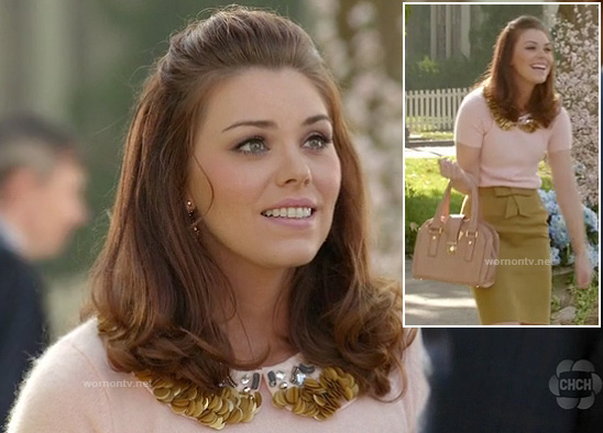Annabeth's fluffy sweater with gold collar and mustard bow front skirt on Hart of Dixie
