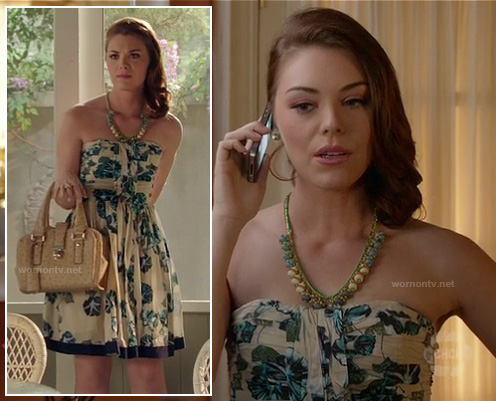 AnnaBeth's blue and white printed strapless dress on Hart of Dixie