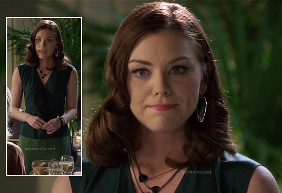Annabeth's green wrap top and black arrow shaped earrings on Hart of Dixie