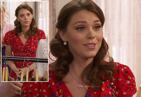 AnnaBeth's red floral v-neck dress on Hart of Dixie